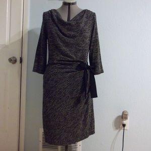 Just Taylor Size 14 Grey Faux Wrap Dress Midi Top